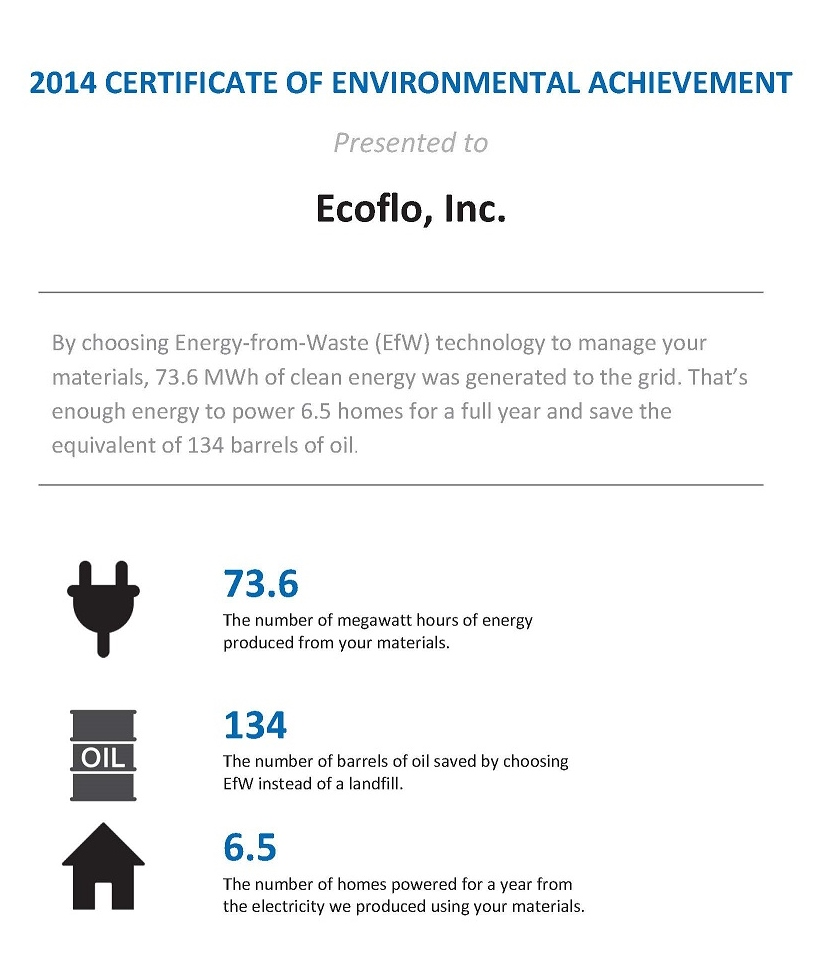 Ecoflo receives 2014-Certificate of Environmental Achievement