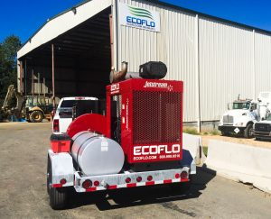 Hydroblaster and trailer on-site at ECOFLO in Greensboro, NC.
