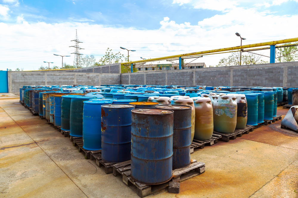 Rows of barrels of hazardous waste in Richmond, VA